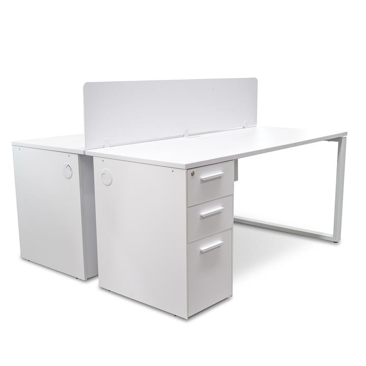 Halo 2 Seater Office Desk  With Privacy Screen – White