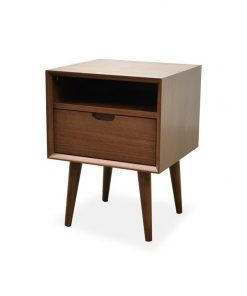 Asta SQ Wooden Bedside Table - Walnut