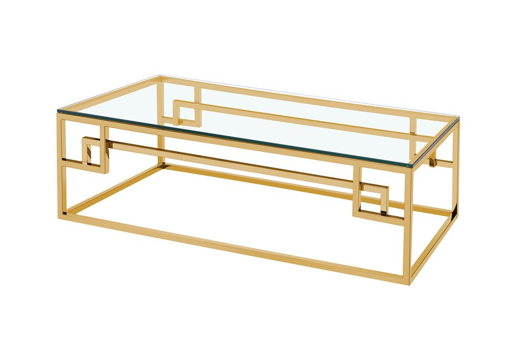 Anderson 1.2m Coffee Table - Glass Top - Golden Stainless Steel Base