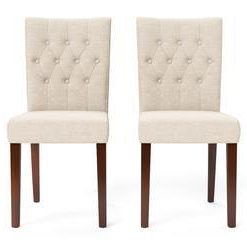 Espen® 2 x Dining Chair - French Beige and Brown Legs