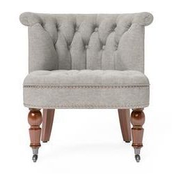 Helene® Accent Chair - Stone Grey with Brown Legs