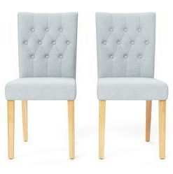 Espen® 2 x Dining Chair - Porcelain Blue and Natural Legs