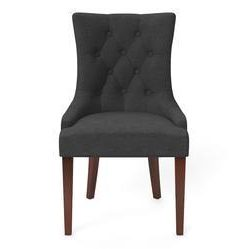 Espen® Scoop Back Dining Chair - Night Black and Brown Legs