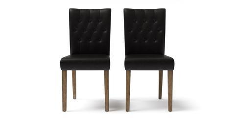 Espen® 2x Leather Dining Chair - Slate Black with Wire Brushed Wax Legs