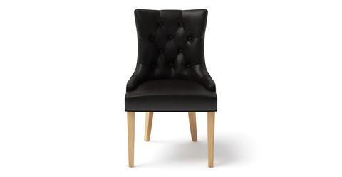 Espen® Leather Dining Chair Scoop Back - Slate Black with Natural Legs