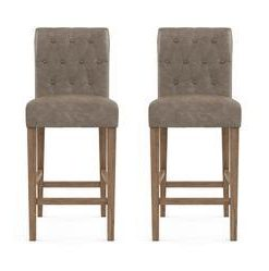 Espen® Leather Bar Stool Set of 2 - Taupe Beige with Wire Brushed Wax Legs