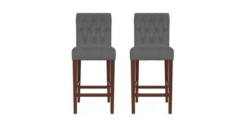 Espen® Bar Stool Set of 2 - Night Black with Dark Brown Legs