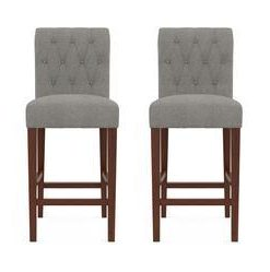Espen® Bar Stool Set of 2 - Stone Grey with Dark Brown Legs