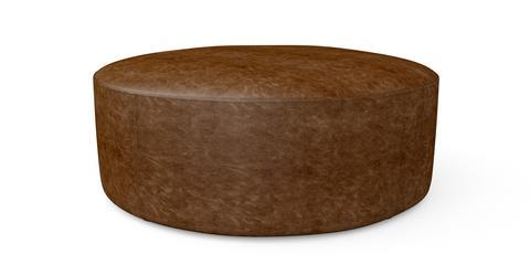 Alexa Large Leather Round Ottoman - Walnut Brown