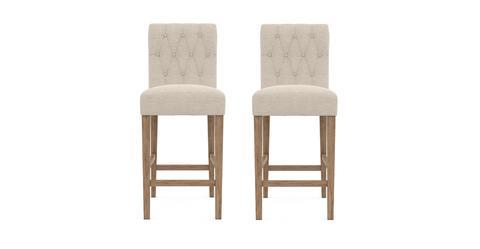 Espen® Bar Stool Set of 2 - French Beige with Wire Brushed Wax Legs