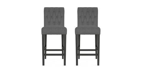 Espen® Bar Stool Set of 2 - Night Black with Black Legs