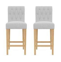 Espen® Bar Stool Set of 2 - Cloud Grey with Natural Legs