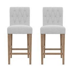 Espen® Bar Stool Set of 2 - Cloud Grey with Wire Brushed Wax Legs