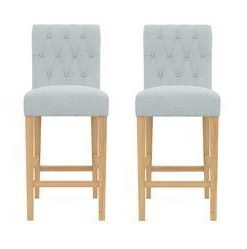 Espen® Bar Stool Set of 2 - Porcelain Blue with Natural Legs