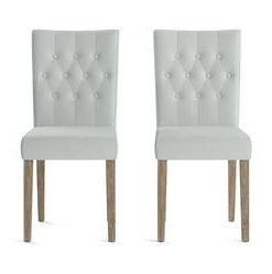 Espen® 2 x Dining Chair - Porcelain Blue and Wire Brushed Wax Legs