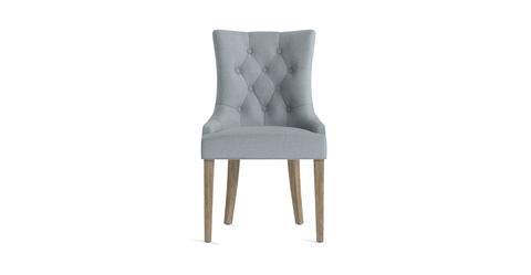 Espen® Scoop Back Dining Chair - Heron Grey and Wire Brushed Wax Legs