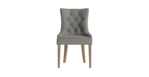 Espen® Scoop Back Dining Chair - Stone Grey and Wire Brushed Wax Legs
