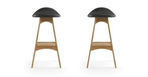 Kim Leather Set of 2 Bar Stools - Slate