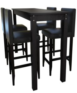 vidaXL Bar Table with 4 Chairs Black