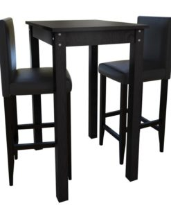 vidaXL Bar Table with 2pcs Chairs Black