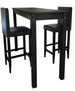 vidaXL Bar Table with set of 2 Chairs Black