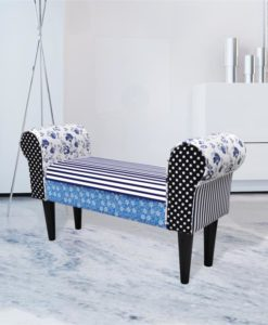 vidaXL Patchwork Bench Country Living Style Blue & White
