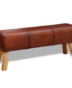 vidaXL Real Leather Bench Brown 120 x 30 50 cm