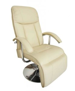vidaXL Electric TV Recliner Massage Chair Creme White