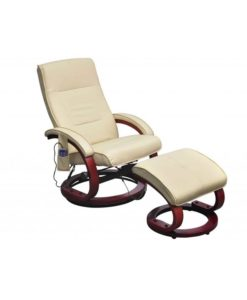vidaXL Electric TV Recliner Massage Chair Cream-white