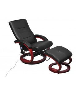 vidaXL Electric TV Recliner Massage Chair Black with a footstool
