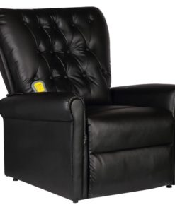 vidaXL Black Electric Artificial Leather Recliner Massage Chair