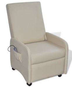 vidaXL Cream Foldable Massage Recliner Artificial Leather