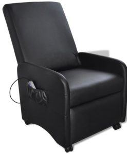 vidaXL Black Foldable Massage Recliner Artificial Leather
