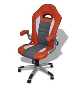 vidaXL Office Artificial Leather Chair Modern Design Orange