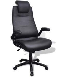 vidaXL Black Artificial Leather Swivel Chair Adjustable