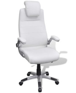 vidaXL White Artificial Leather Swivel Chair Adjustable
