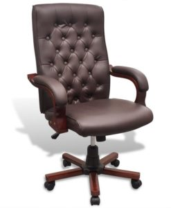 vidaXL Chesterfield Office Chair Artificial Leather Brown