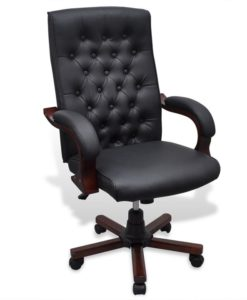 vidaXL Chesterfield Office Chair Artificial Leather Black