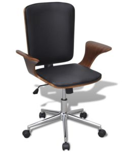 vidaXL Swivel Office Chair Bentwood with Artificial Leather Upholstery