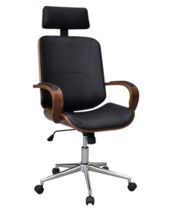 vidaXL Swivel Office Chair with Headrest Bentwood Artificial Leather