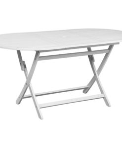 vidaXL Outdoor Dining Table White Acacia Wood Oval