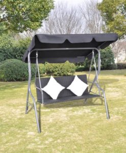 vidaXL Outdoor Hanging Rattan Swing Chair with a Canopy Black
