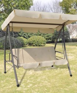 vidaXL Outdoor Swing Chair / Bed with Canopy Sand White