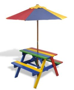 vidaXL Kids Picnic Table & Benches with Parasol in Four Colours