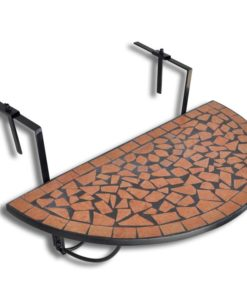 vidaXL Mosaic Balcony Table Hanging Semi-circular Terracotta