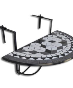 vidaXL Mosaic Balcony Table Hanging Semi-circular Black White