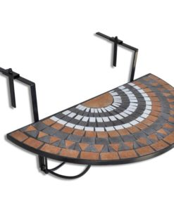 vidaXL Mosaic Balcony Table Hanging Semi-circular Terracotta White