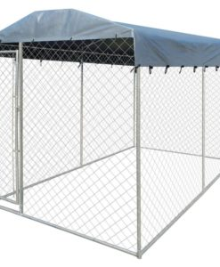 vidaXL Heavy-duty Outdoor Dog Kennel with Canopy Top 200 x 400 235 cm
