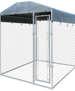 vidaXL Heavy-duty Outdoor Dog Kennel with Canopy Top 200 x 235 cm