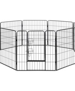 vidaXL Dog Playpen Crate Fence Puppy & Pet Exercise Cage Kennel 8 Panel